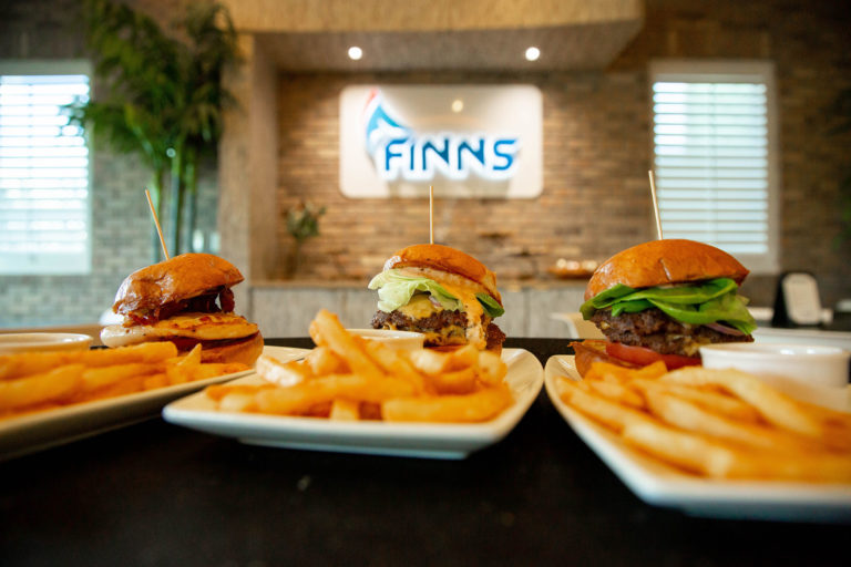 Hamburger sliders and fries at Finns Restaurant at Encore Resort.
