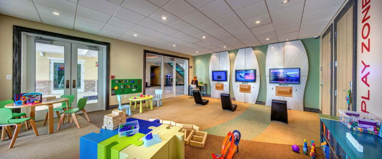 Inside the Hang Ten Hideaway kids' play area at Encore Resort.